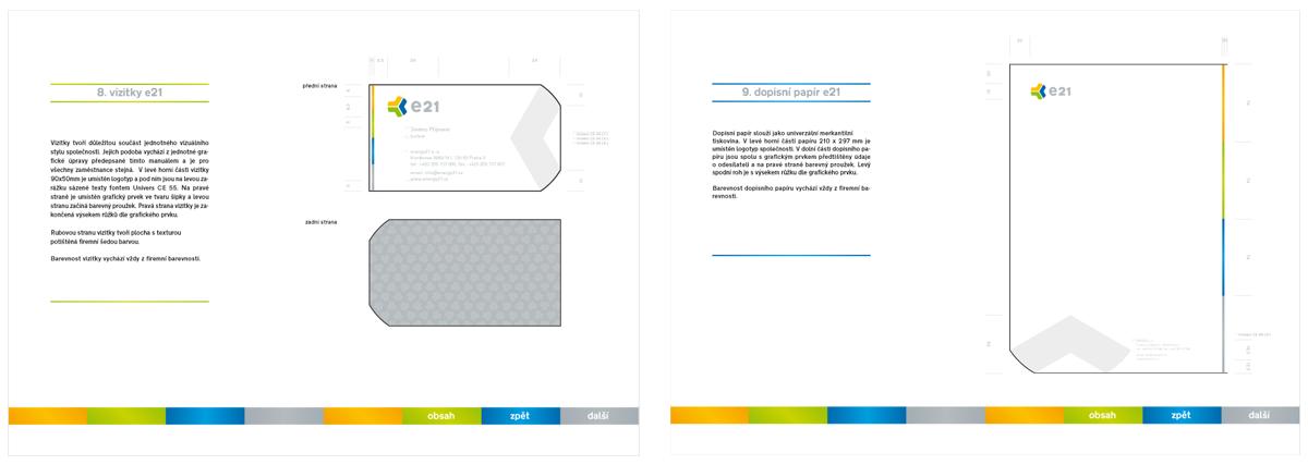Ukázka design manuálu E21, který jsme vytvořili společně s novým logem.
